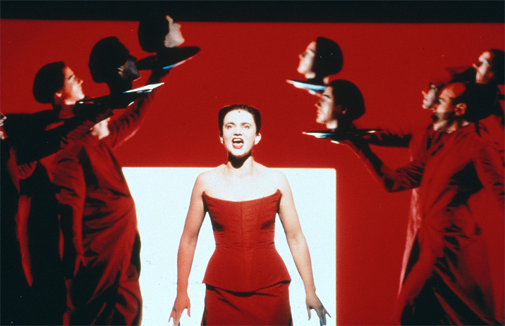 Annette Paulmann in Time Rocker (1997); Robert Wilson, Lou Reed, and Darryl Pinckney/Thalia Theater.