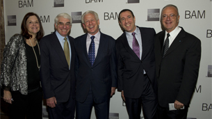 BAM President, Karen Brooks Hopkins, BAM Chairman of the Board, Alan Fishman, BAM Vice Chairman of the Board, Bill Campbell and Adam Max, and BAM Executive Producer, Joseph V. Melillo